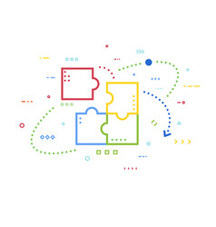 puzzle concept line vector image
