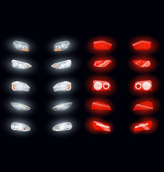realistic auto headlights collection vector image