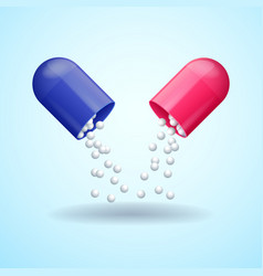 red and blue full medical pill capsule vector image