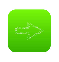 right arrow with bubble contour icon green vector image