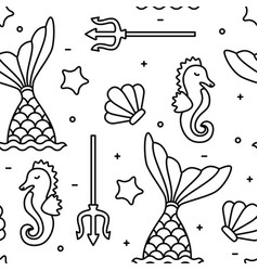 Sea concept black outline seahorse mermaid vector