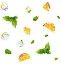 seamless pattern fresh orange mint and ice cubes vector image