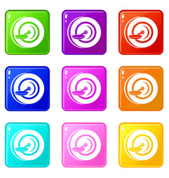 Self balancing wheel icons 9 set vector
