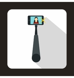Selfie stick with mobile phone icon flat style vector image