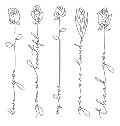 Set line art flowers with lettering vector