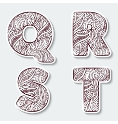 Set of capital letters Q R S T from the vector image