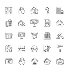 Set of real estate doodle vector