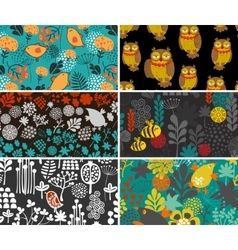 Set of retro cards with birds and flowers vector