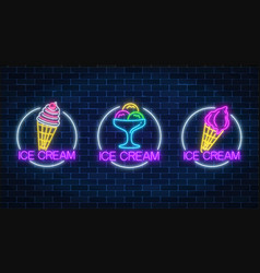 set of three neon glowing signs of different vector image