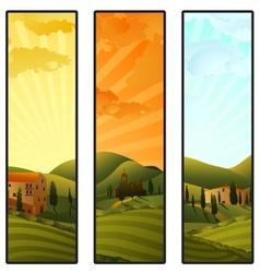 Set of Tuscany landscape banners vector image