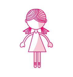 shadow pink girl cartoon vector image