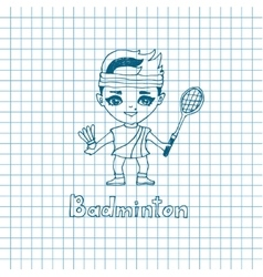 Sketch Girl Badminton player vector