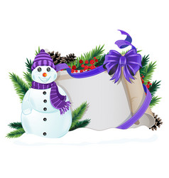 snowman with purple hat and scarf vector image
