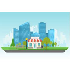 store and big city vector image
