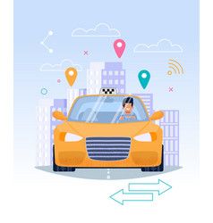 taxi driver in yellow cab flat ride vector image