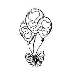 Three air ballooons with hearts print in sketch vector