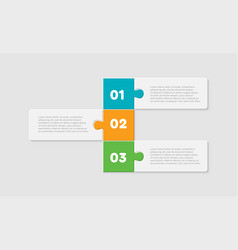 three pieces puzzle rectangles line info graphic vector image