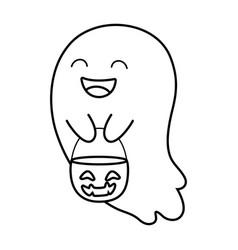 Trick or treat - happy halloween line style vector