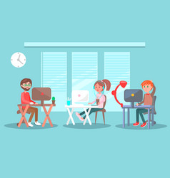 two men and girl at desk with computer in office vector image