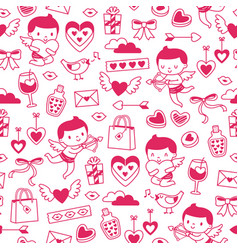 valentines hand drawn pattern vector image