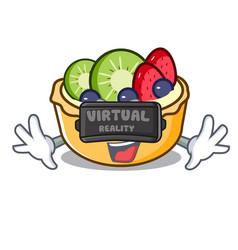 virtual reality fruit tart mascot cartoon vector image