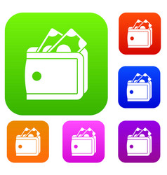 Wallet with cash set collection vector