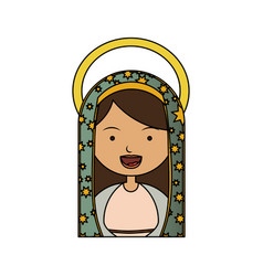 White background of colorful half body virgin of vector