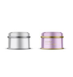 white metallic tin box for tea coffee or candy vector image