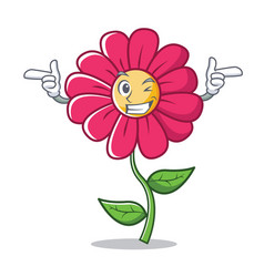 Wink pink flower character cartoon vector