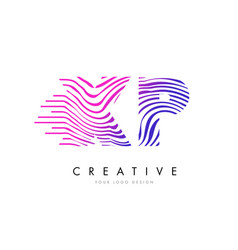 Xp x p zebra lines letter logo design with vector
