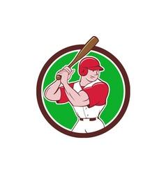 Baseball Player Batting Stance Circle Cartoon vector image vector image