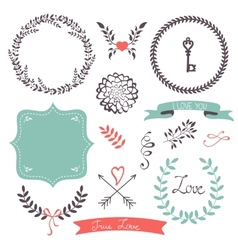 Beautiful collection of frames and laurels vector