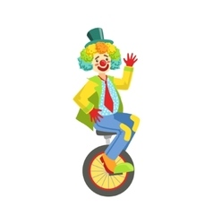 Colorful Friendly Clown With Rainbow Wig In vector image vector image