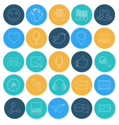 flat lines icons of social network vector image vector image