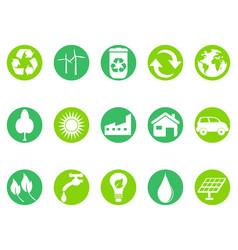 green eco button icons set vector image vector image