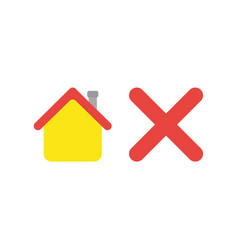flat design concept of house with x mark vector image
