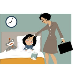 Sick kid and her mom vector image vector image