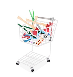 Various Craft Tools in A Shopping Cart vector image vector image