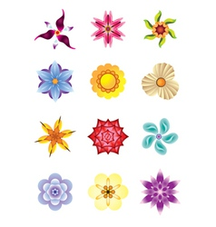 Colourful flower icons set vector image vector image