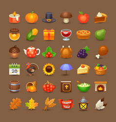 cute thanksgiving icons vector image