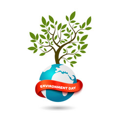 ecology concept tree with globe and ribbon vector image