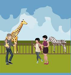 zoo cartoon people with animals scene vector image