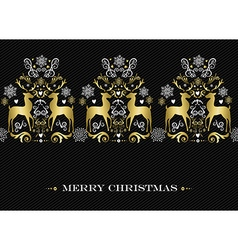Christmas gold winter deer pattern background vector