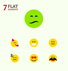flat icon face set of love party time emoticon vector image vector image