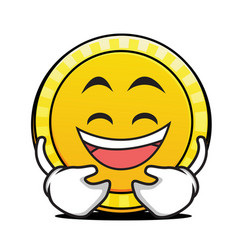 laughing face coin cartoon character vector image