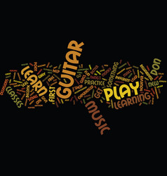 learn how to play the guitar text background word vector image vector image
