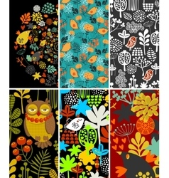 Set of vertical cards with birds and flora vector image vector image
