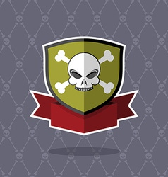 Shield with skull pirate emblem vector image vector image