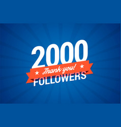 2000 followers card vector image