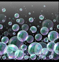 3d soap transparent bubbles water spheres vector image